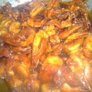 Crispy prawns in hot chillie sauce