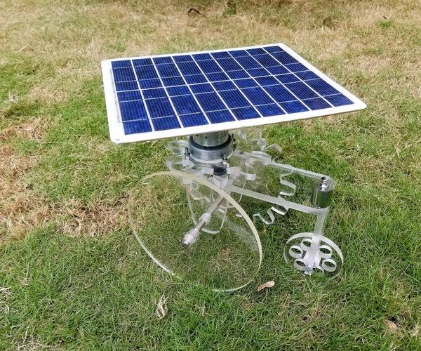 有旋转的太阳电池板和齿轮轮的玩具拖拉机
