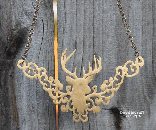 Gold Deer Head Trophy Filigree Necklace!