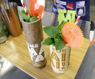 Engraved Bamboo Tiki Cups and Swizzle Sticks