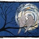 How to Silver leaf BIRDS on A Denim Canvas