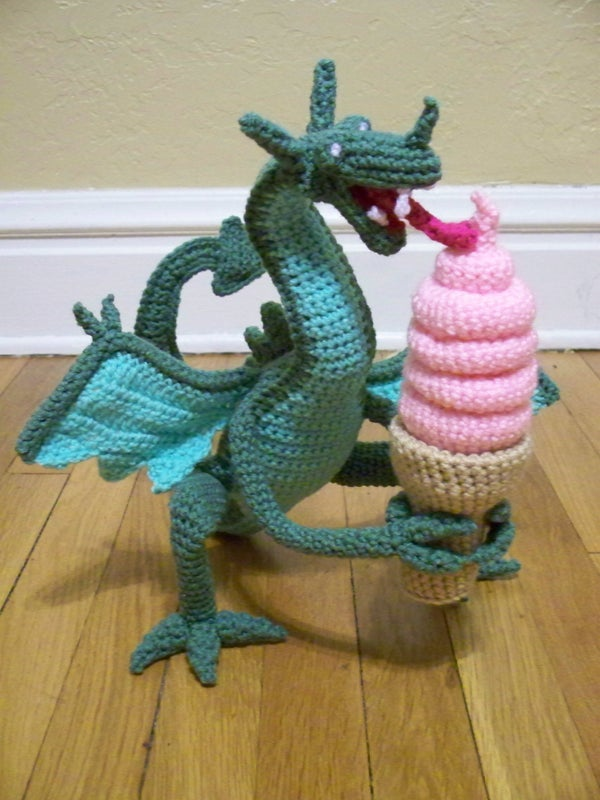 Crocheted Dragon Eating Ice Cream