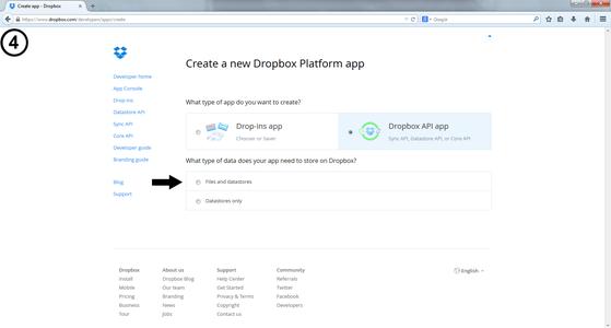 Create the Dropbox Platform App