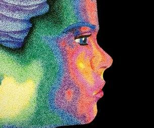 Rainbow Pointillism Portrait