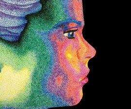 Rainbow Pointillism Portrait