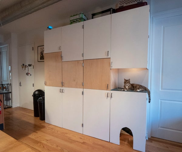 Plywood Storage Wall With Cat Tower