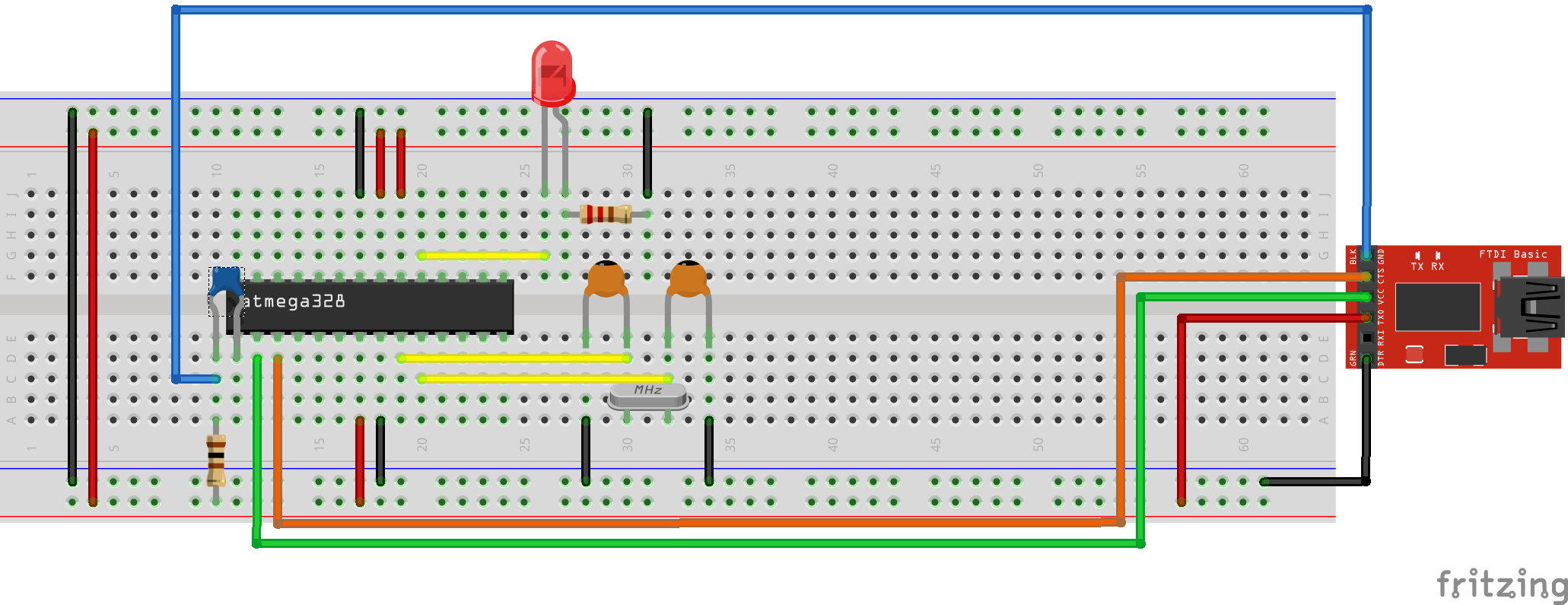 Arduino on a Breadboard with a FT232RL