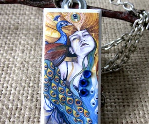 Peacock Feathers Ceramic Tile Pendant