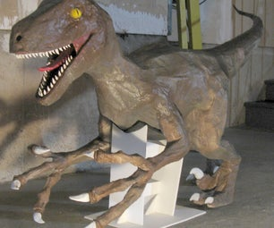 Velociraptor Statue and T-Rex Head