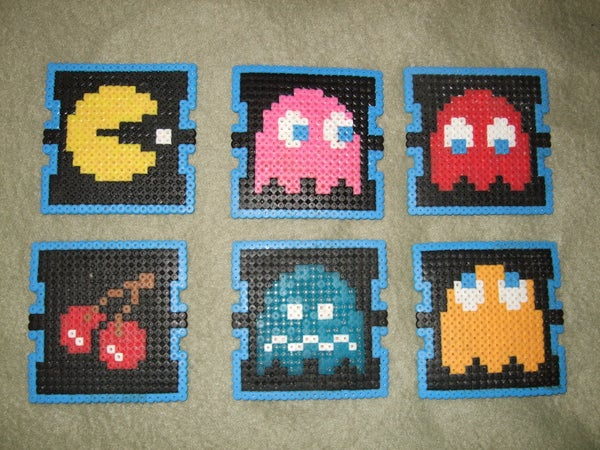 Pac Man Beverage Coasters (Perler Beads)