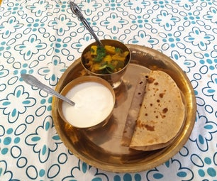 Sukka Roti a Traditional Asian Flat Bread and Mixed Vegetables.