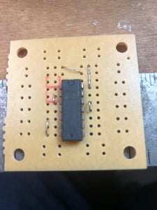 Install the Chip and the Jumpers.  Next Install the Resistors and Capacitors