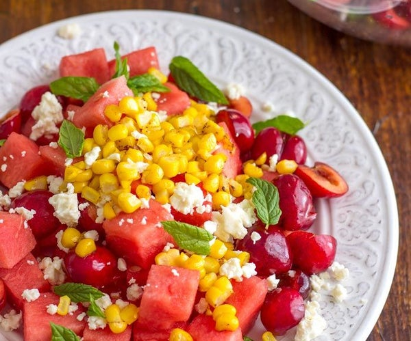 Summer Watermelon Cherry Salad With Feta