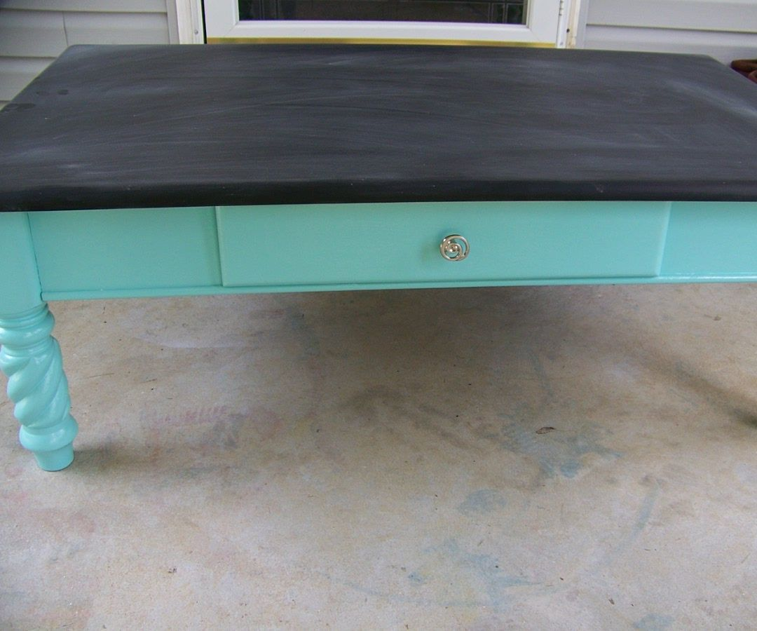 Coffee Table Transformed Into A Kids Chalkboard Table