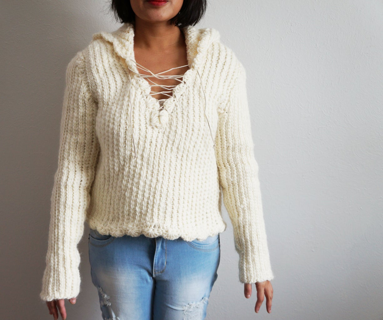 Ribbed Crochet Pullover With Hoodie