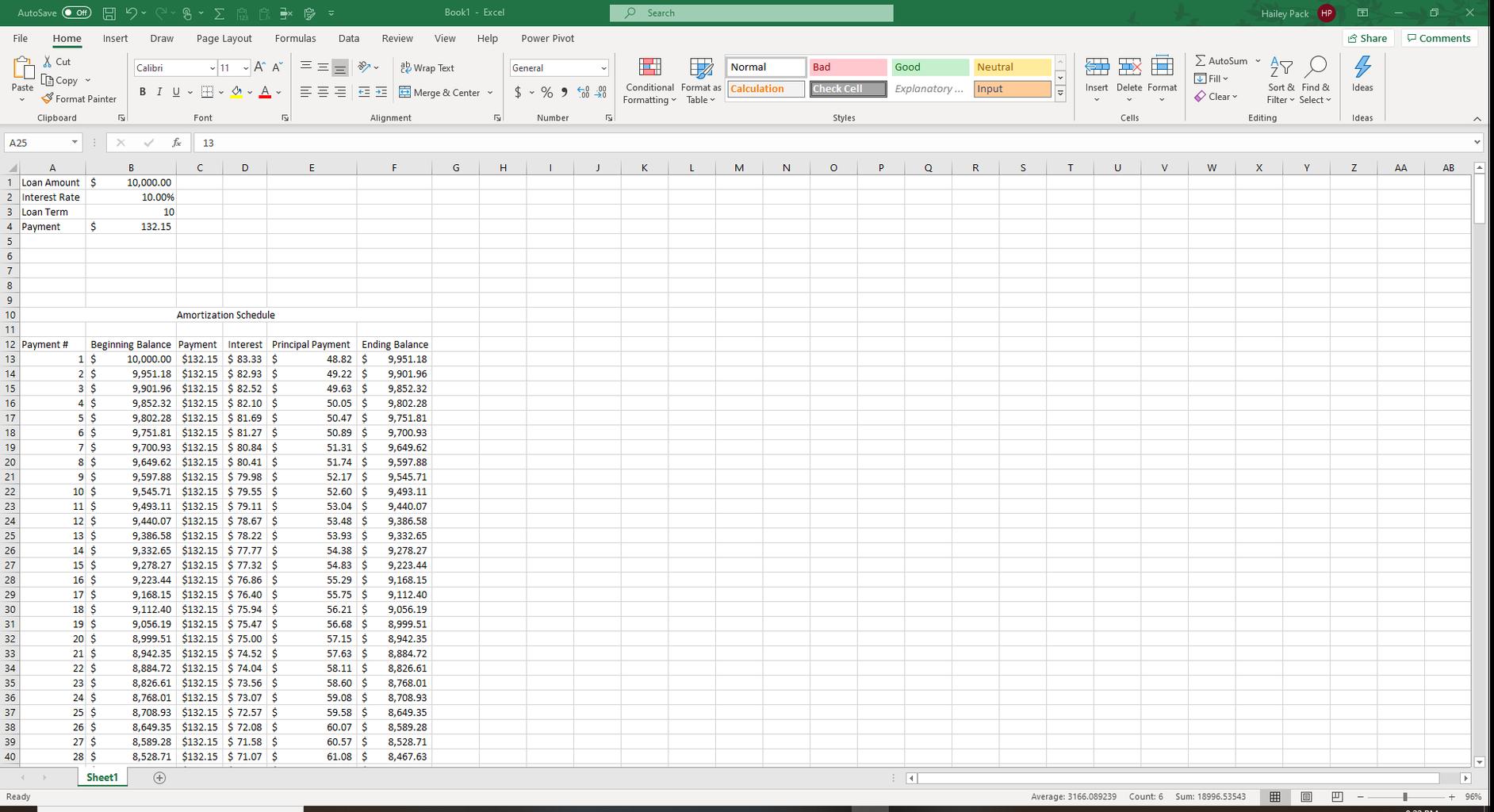 Excel Amortization Schedule