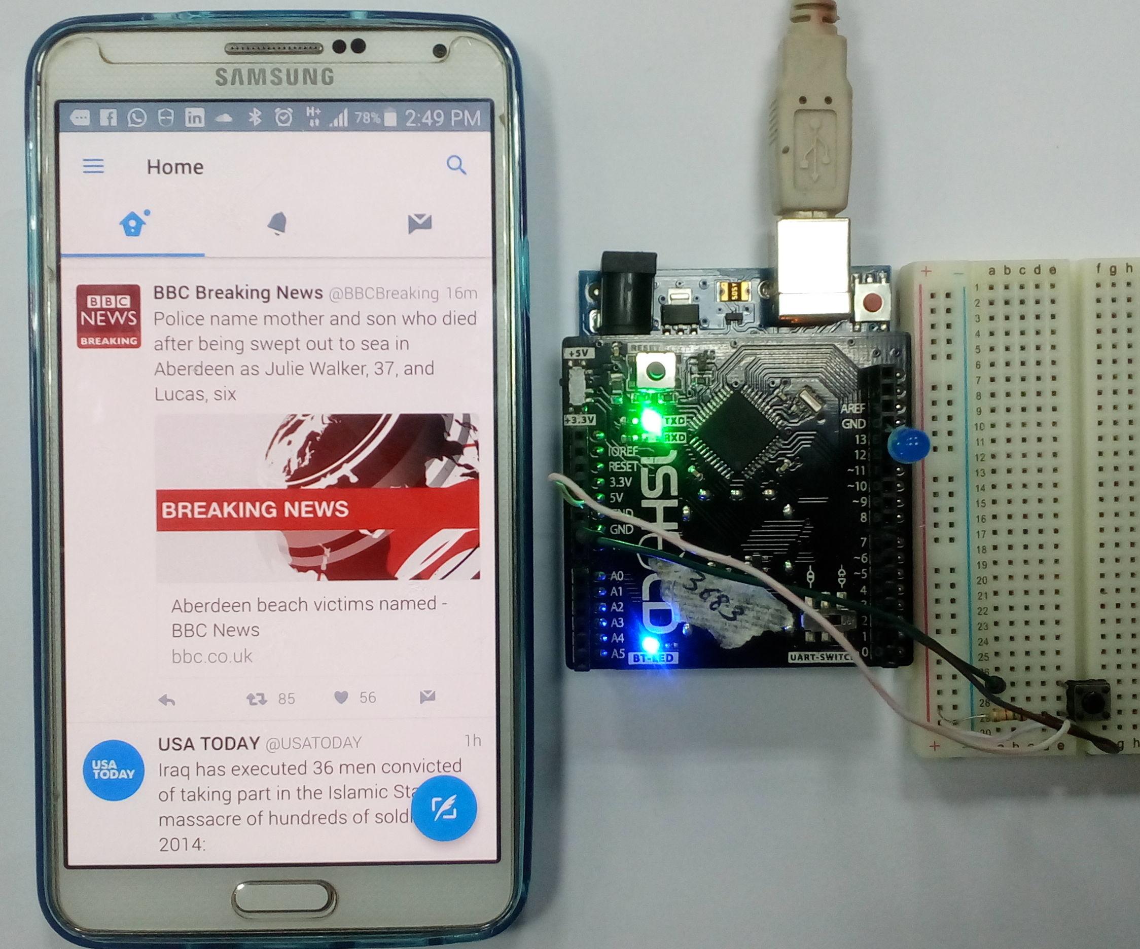 Twitter Radio Using 1Sheeld and Arduino Uno