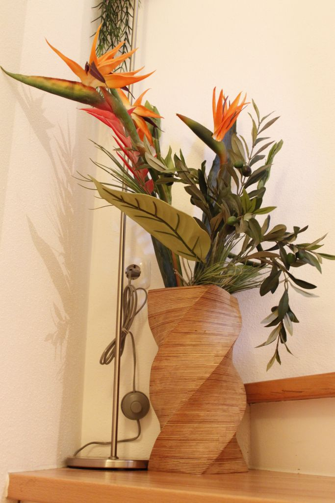 Tall floor vase with a twist