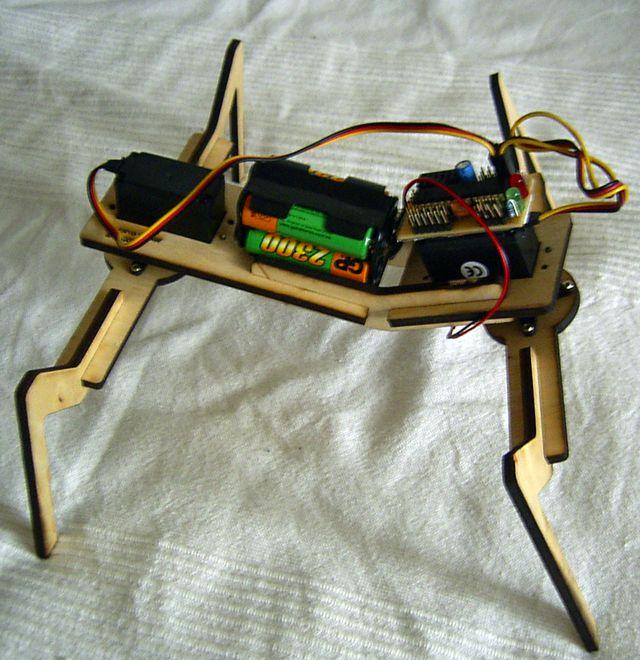 simpleWalker: 4-legged 2-servo walking robot