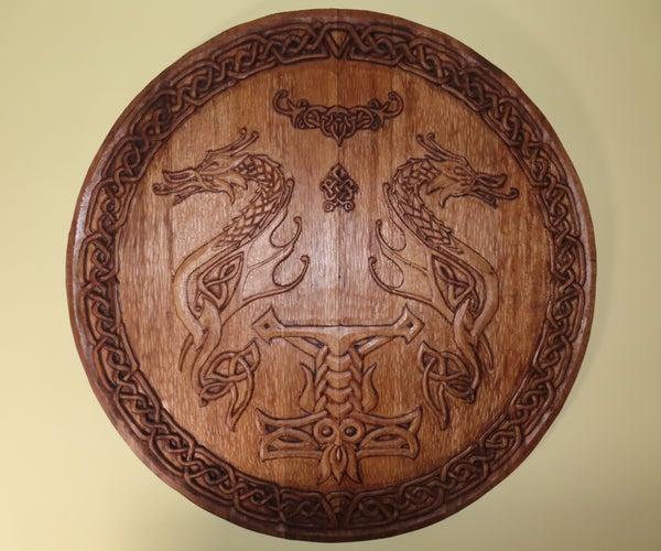 Huge Hand-Carved Celtic Wooden Shield. 1000mm in Diameter!