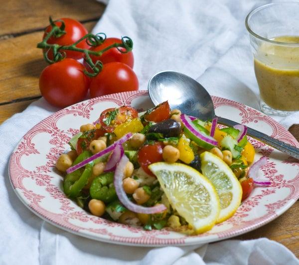 Mediterranean Chickpea Salad W/ Citrus Oregano Vinaigrette