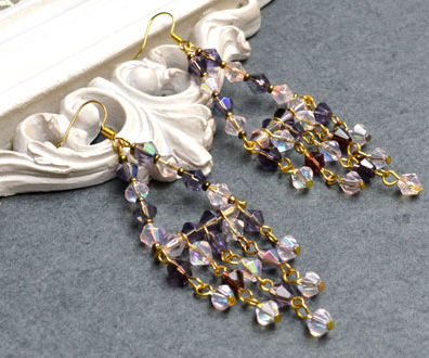 DIY Long Chandelier Earrings with Brilliant Electroplate Glass Beads
