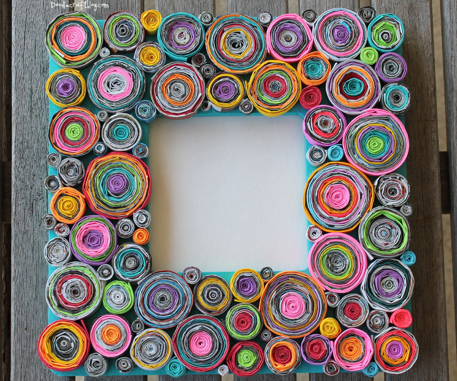 Upcycled Rolled Paper Frame!