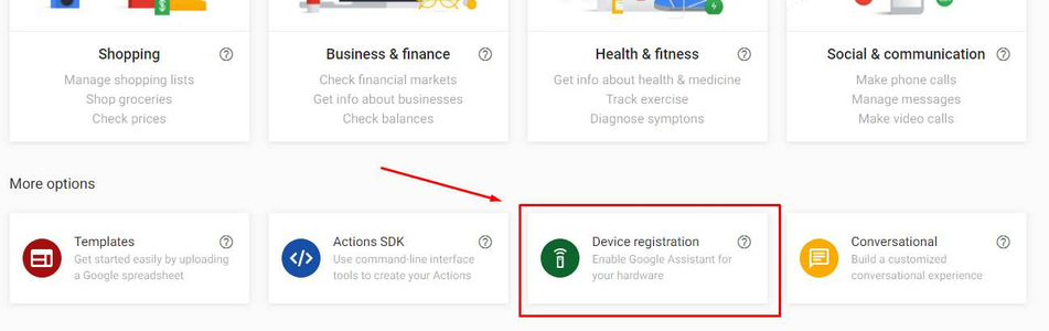 Actions on Google - Device Registration: