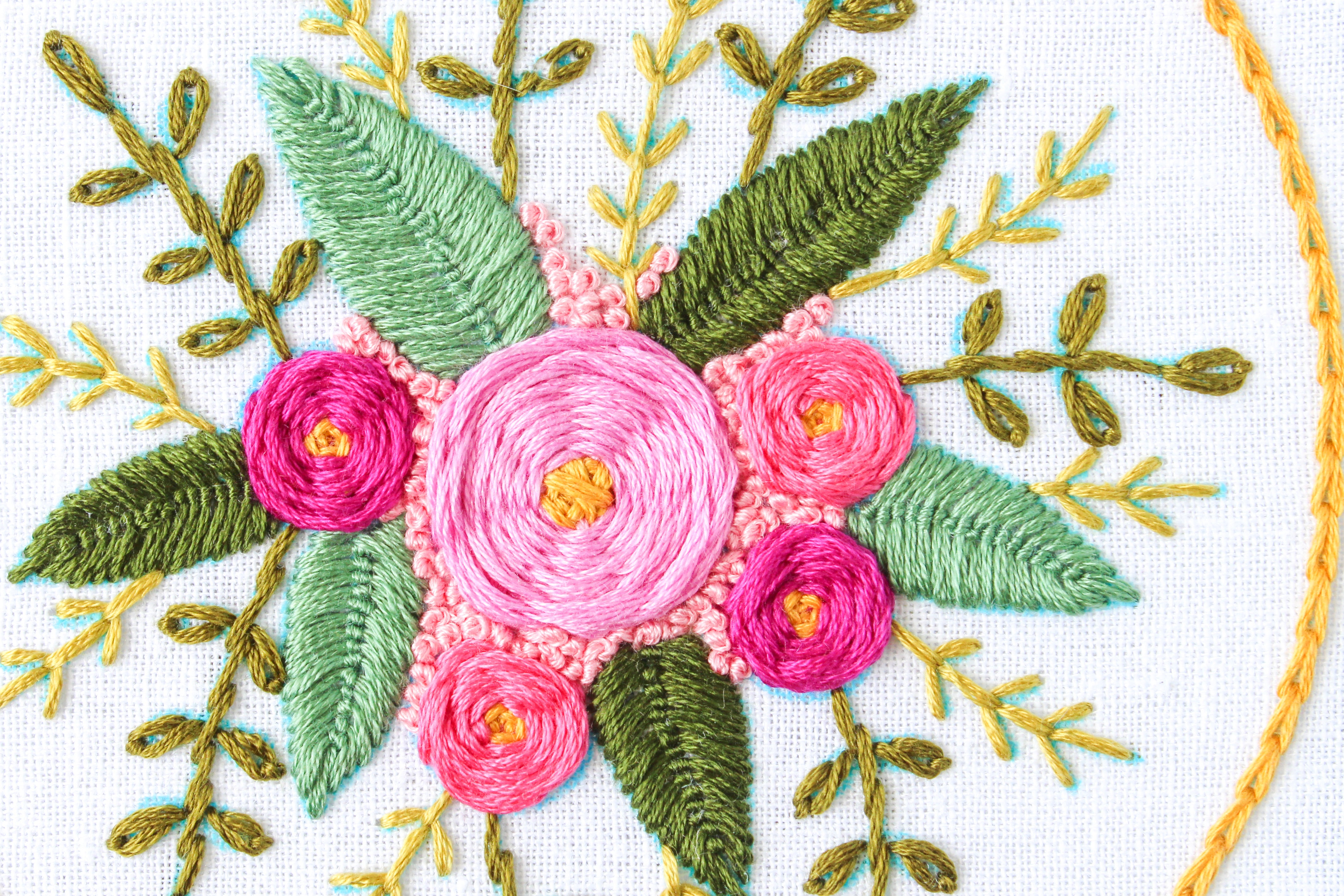 6 finished embroidery Bouquet