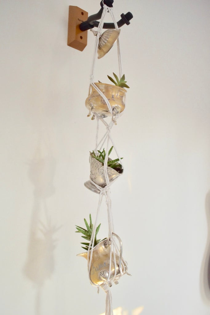 Antique Silver Creamer Turned Into Stacked Hanging Macrame Succulents