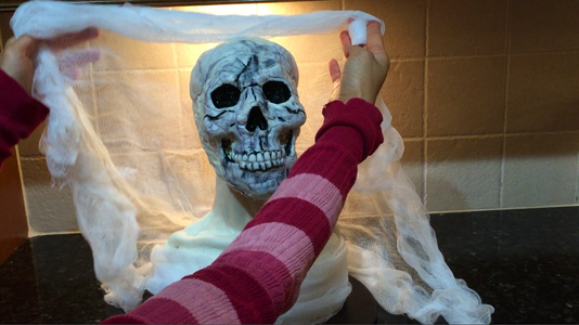 Fold a Sheet of Cheesecloth in Half and Use As a Veil for the Bust