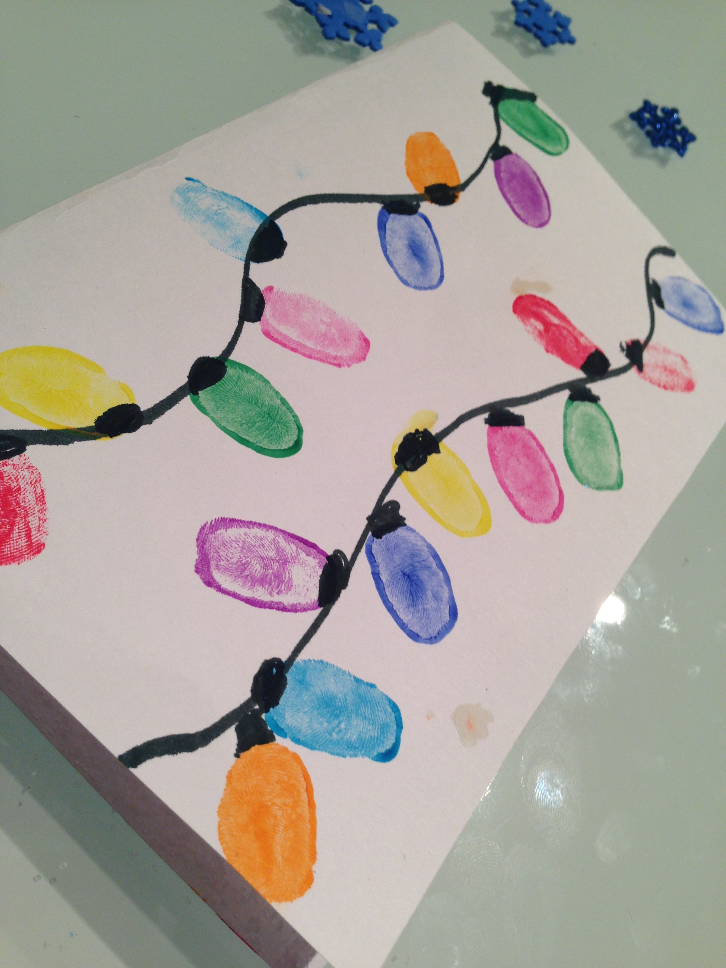 Thumb Print Christmas Lights Card