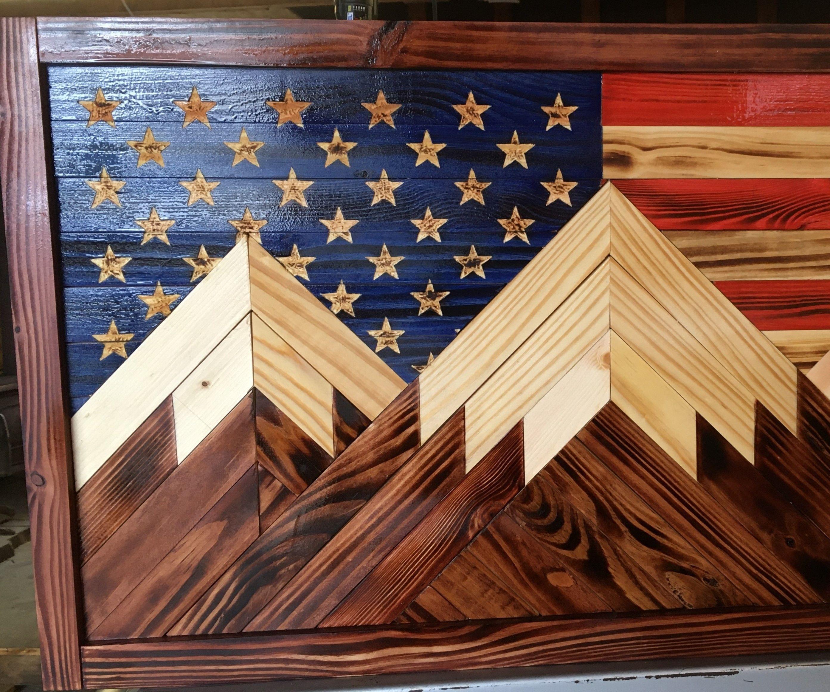 Patriotic Mosaic Wood Mountains