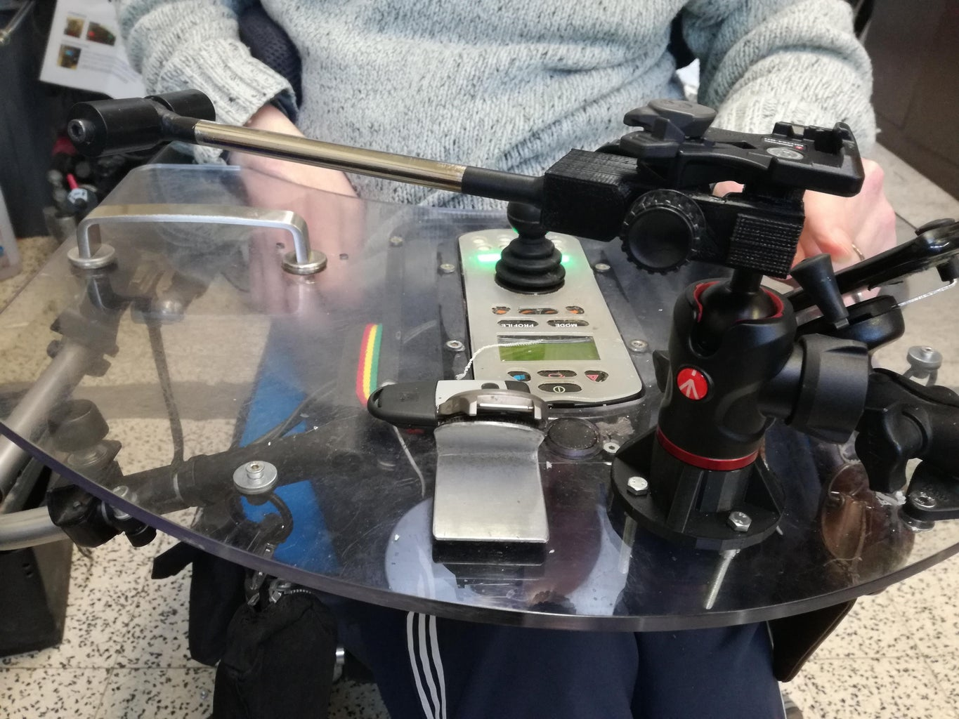 Adapted Camera Holder to Mount on a Wheelchair Tabletop