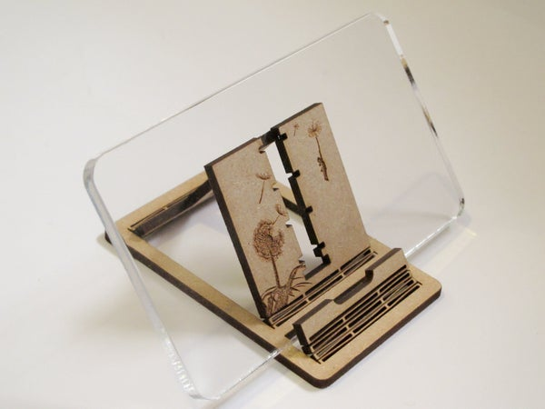 Phone Stand & Headphone Wrap (Laser Cut and Living Hinges)