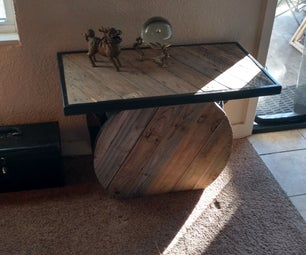 Spool Table With Shelves