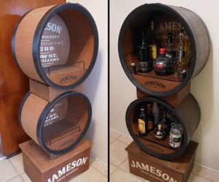 From Salvaged to Awesome Liquor Display...with Lights