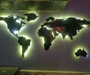 纸板世界地图与背光