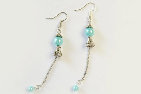 The Final Look of the Beaded Turquoise Earrings:
