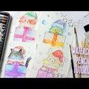 DIY CHRISTMAS CARDS WITH WATERCOLOR PENCILS TUTORIAL - KAWAII ANIMALS