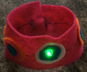 Light-up LED Cuff / Bracelet With Magnetic Switch (e-textile)