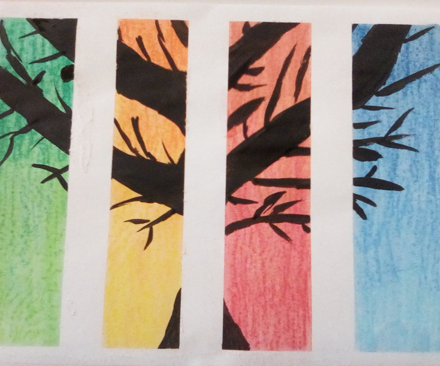 Chalk Pastel and Acrylic Paint Seasons Painting