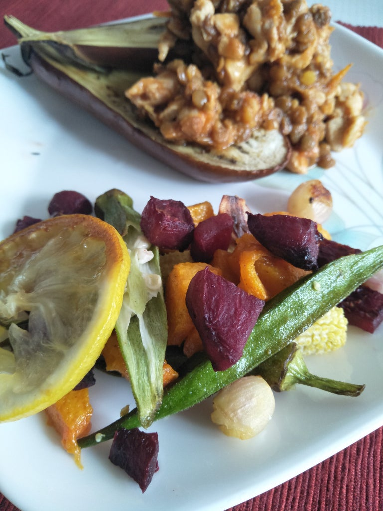 Recipe #3: Tomato and Chicken Lentils in an Eggplant Bowl With Cumin Roasted Vegetables