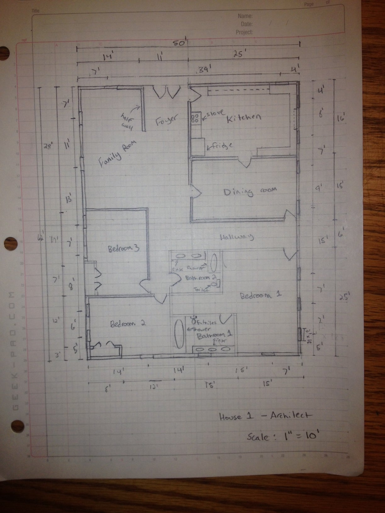 How To Manually Draft A Basic Floor Plan 11 Steps Instructables