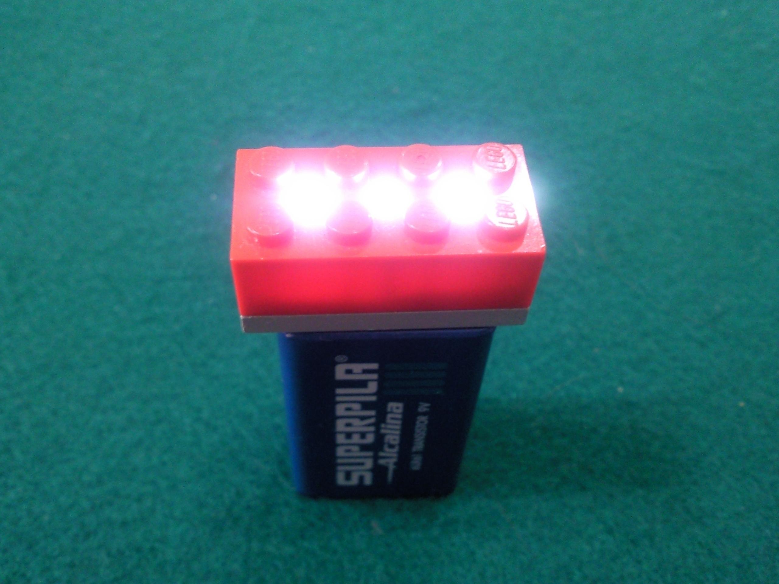 The Most Basic LEGO 9V Flashlight.