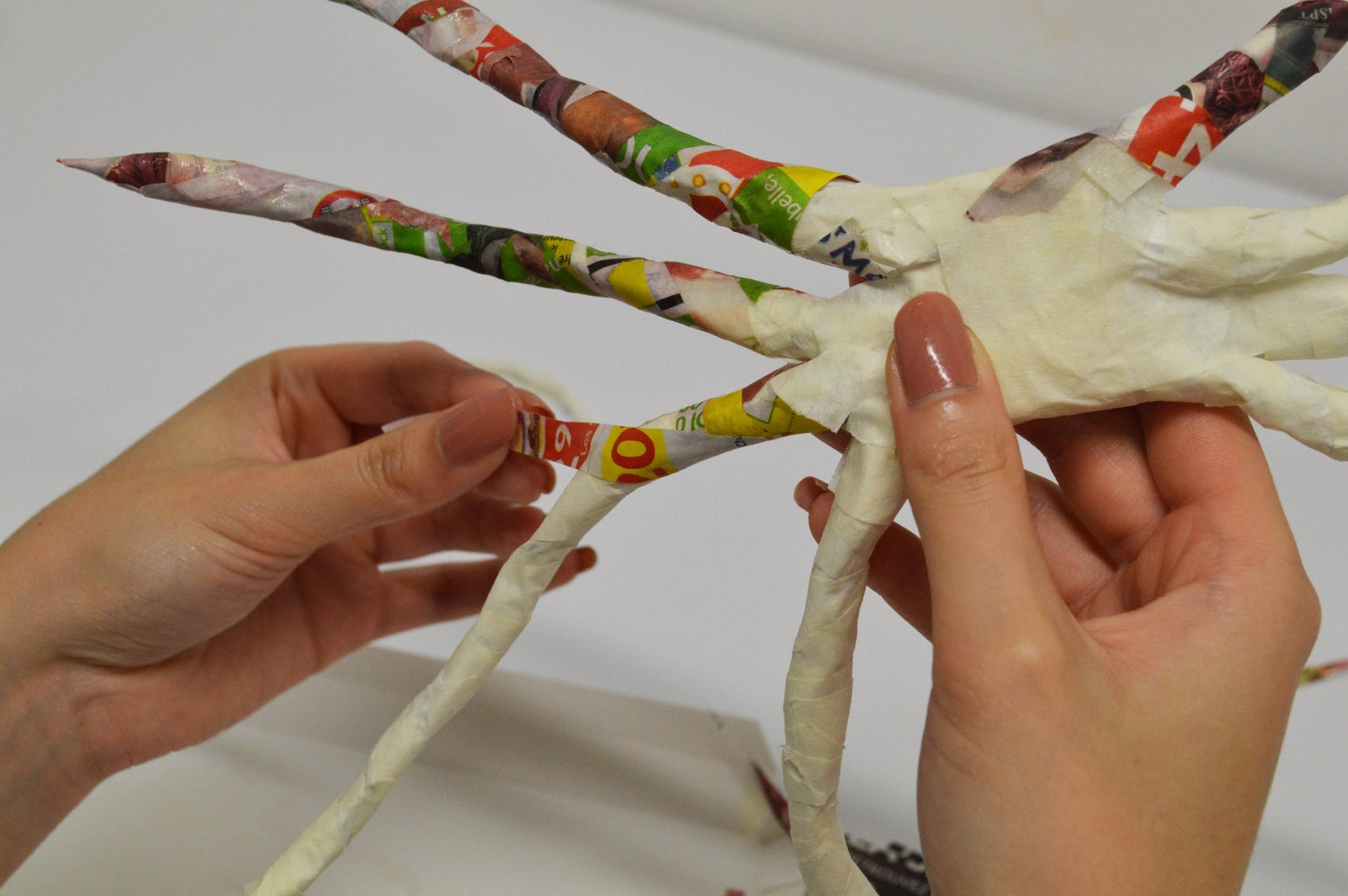 Paper-mache for the Spider Legs