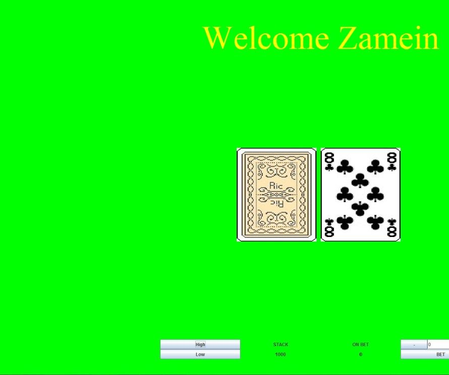 ZAMEIN'S HIGH & LOW CARD GAME
