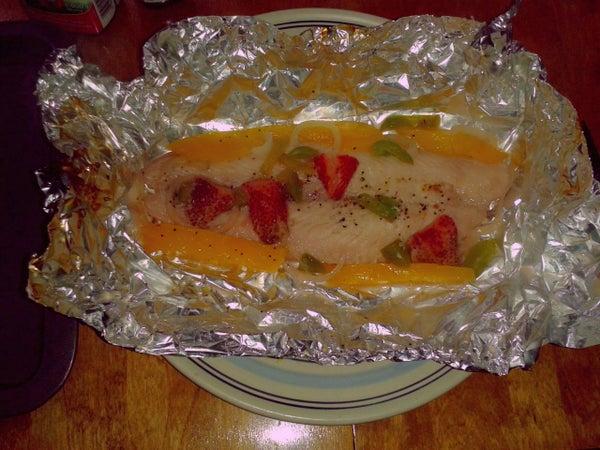 Gourmet BBQ'd Poached Mango Strawberry Fish Filets