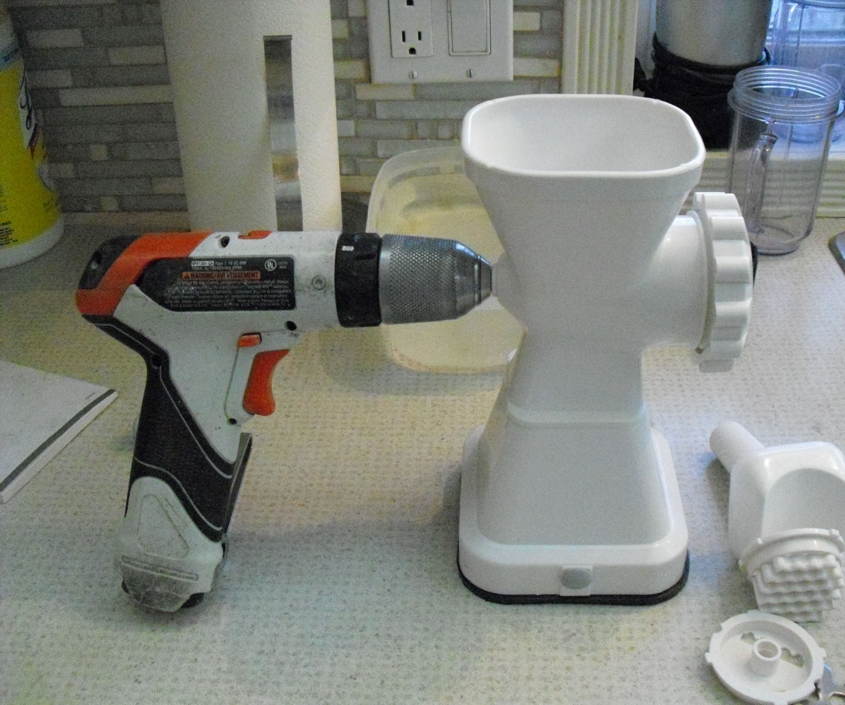 drill powered meat grinder