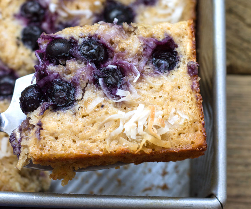 Semi-Healthy Blueberry Cake with Crispy Sugar and Shredded Coconut